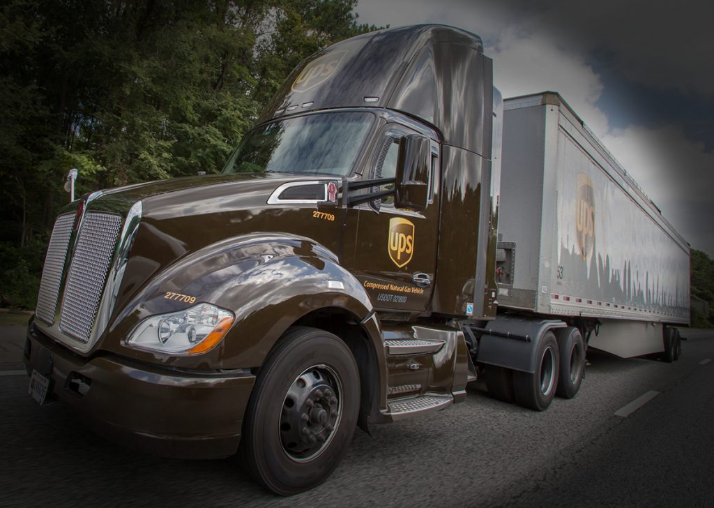 UPS big rig with CNG-fueled Kenworth tractor